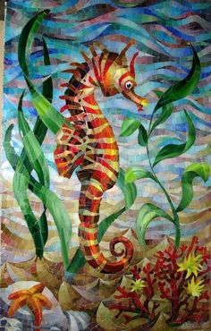 I love this mosaic seahorse :) Mosaic Artwork, Mosaic Wall, Mosaic Glass, Mosaic Crafts, Mosaic Projects, Art Projects, Art Crafts, Stained Glass Patterns, Stained Glass Art