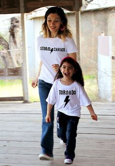2 shirts- funny TORNADO and STORM Chaser ™ mommy and me t-shirt set rock star ACDC shirt mother daughter son clothes All Sizes! Mom Of Boys Shirt, Mommy And Me Shirt, Mommy And Me Outfits, Baby Outfits, Mom Shirts, My T Shirt, Shirts For Girls, Kids Shirts, Funny Shirts