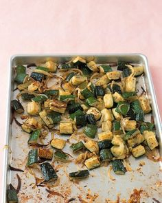 Roasted Zucchini with Thyme  Chunks of zucchini and sliced onion become caramelized and tender when baked in a 450-degree oven. Serve as a side dish with grilled lamb or pork kebabs, or toss the roasted zucchini with pasta.