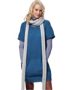 Dress with kangaroo pockets and scarf