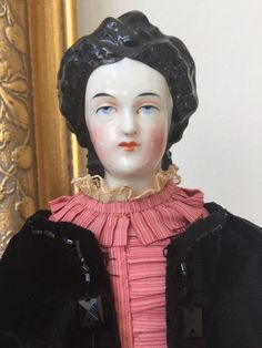 Antique China Doll w/ VERY RARE Fancy Hair Do Wearing Antique Dress