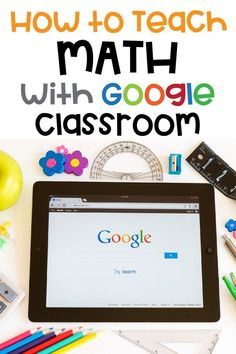 Google Classroom for distance learning. Teach math digitally. Links to websites or a pre-made Google Slide resources can be used in Google Classroom. Teach your students math via Google Classroom with this tutorial. Online Classroom, Math Classroom, Classroom Websites, Flipped Classroom, Classroom Ideas, Math Teacher, Teaching Math, Maths, Teacher Tips