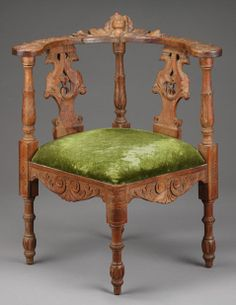 An Italian-style carved chair with green velvet upholstery used in a July 1962 Marilyn Monroe photo shoot with Life magazine.