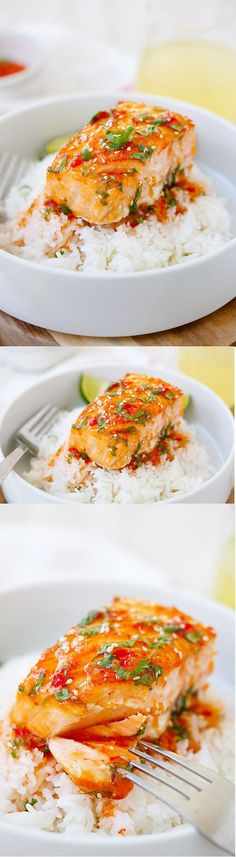 Sweet Chili Salmon - quick and easy salmon with Thai sweet chili sauce. The recipe takes only 15 mins on skillet or you can bake it. #seafoodrecipes
