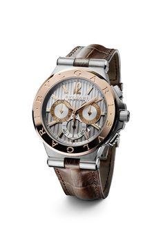 Bulgari Diagono 42mm Steel   Rose Gold Watch 101879 Dream Watches, Cool  Watches, Luxury 03cc59042c8