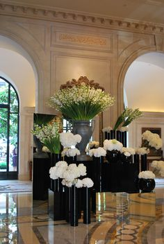 Stunning lobby flowers - Four Seasons George V Paris.