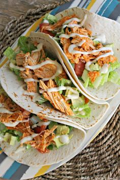 Easy Crockpot Buffalo Chicken Tacos - definitely easy, though worked better with tenders than full breasts