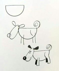 How to Draw Easy Figures Drawings Cartoons 🎫 Doodle Drawings, Cartoon Drawings, Animal Drawings, Doodle Art, Easy Drawings, Drawing Sketches, Drawing Lessons, Drawing Skills, Drawing Techniques