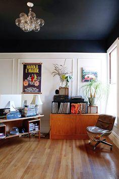 black ceiling + whit