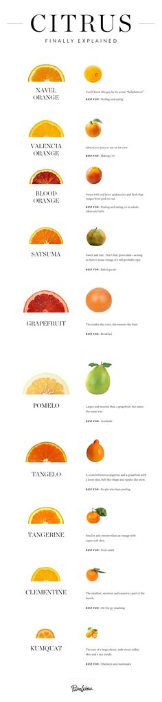 the Winter Citrus Finally Explained All the Winter Citrus Finally Explained. Uhh, what's the difference between a tangelo and a pomelo again?All the Winter Citrus Finally Explained. Uhh, what's the difference between a tangelo and a pomelo again? Healthy Snacks, Healthy Eating, Healthy Recipes, Citrus Recipes, Cooking Tips, Cooking Recipes, Nutrition, Food Facts, Fruits And Veggies