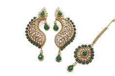 16fe92260 Green Antique Gold Indian Bollywood Tikka Earring Jewellery Set Jewelry Set  Tikka Jewelry, India Jewelry