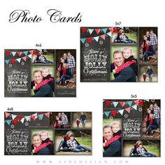 Christmas Card Design - CHALKBOARD HOLLY JOLLY Christmas - Photo Card Set (4x6,4x8,5x5,5x7) - Digital Photoshop Templates for Photographers