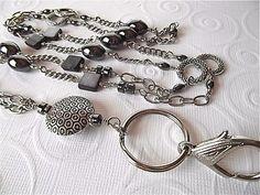 Back in Stock...MOONSTRUCK...Beaded Lanyard/ID Badge Holder... Shades of Hematite Lanyard Collection