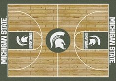 Michigan State Spartans Home Court Rug in Michigan State Spartans (Lane Color: Green) from ACWG