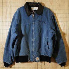 【carhartt】USA製古着ネイビーダック中綿ワークジャケット・ブルゾン|メンズXL|ビッグサイズ