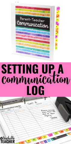 Set up this easy-to-use parent-teacher communication log with free printable downloads from A Teachable Teacher.  This notebook was made with an Avery Binder and Avery Ultra Tabs. Just print out the free downloads to decorate your binder and print out your log sheet. Then use Ultra Tabs to organize numerically or alphabetically. Whatever works best for your classroom.