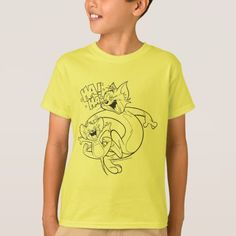 Tom And Jerry | Tom And Jerry Laughing T-Shirt - click to get yours right now! Tom And Jerry Show, Tom And Jerry Cartoon, Black And White Design, White Shop, Boys T Shirts, Dog Design, Kids Outfits, Fitness Models, Toms
