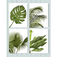 Tropical Leaves 1, Green on White, Fine Art Print, 28x35.5cm