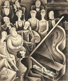 "Miguel Covarrubias   A Salon Recital of Modern Music"", (Vanity Fair, Feb 1929, 54) , ink, wash, watercolor and pencil , 11 1/4 x 9 3/8 in (28.6 x 23.8 cm)"