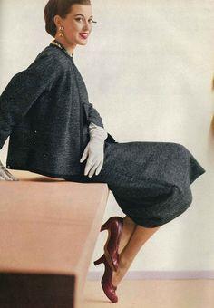 Barbara Mullen wearing Nat Kaplan for Vogue, 1952.