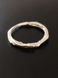 Silver or 14k Gold Twig Ring Wood Band
