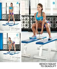 - The Secret To Gorgeous Glutes - EXERCISE 2// BENCH SQUAT TO DEADLIFT.