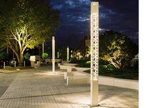 Contemporary light column / metal / for public spaces TREILLE Technilum Architectural Lighting Design, Landscape Lighting Design, Landscape Elements, Landscape Architecture, Park Lighting, Outdoor Lighting, Urban Furniture, Street Furniture, Parque Linear
