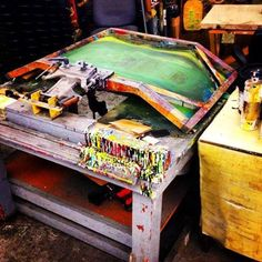 This is a screen specifically for printing skateboard decks. Pretty cool!