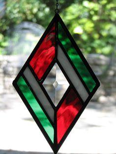 Stained Glass Double Diamond Daisy Suncatcher