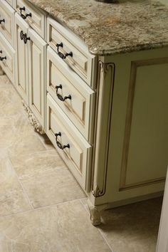 Glazed cabinets and granite counter tops...LOVE
