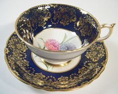 Paragon Tea cup And Saucer, Cobalt Blue and Heavy Gold Teacup and Saucer, Pink and Lilac Carnation, Floral Tea cup.