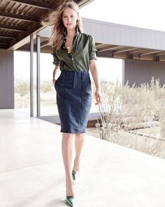 Great look! J.Crew women's garment-dyed safari popover shirt and linen cargo pencil skirt in navy.