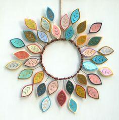 Boho Wreath - Year Round Wreath - Felt Feathers -  Modern Wreath - Bohemian Decor by CuriousBloom on Etsy https://www.etsy.com/listing/252367110/boho-wreath-year-round-wreath-felt