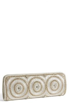 $100, Silver Embroidered Clutch: Micky London Handbags Beaded Clutch White. Sold by Nordstrom. Click for more info: http://lookastic.com/women/shop_items/96855/redirect