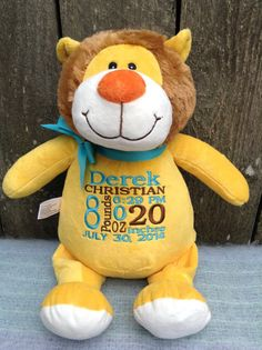 Hello! Thank you for visiting our Etsy Shop!    This lion is just so cute and looking for a new home. The bright yellow Lion can be