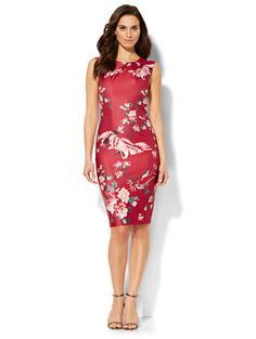 Shop Crossover Sheath Dress - Bird & Floral Print. Find your perfect size online at the best price at New York & Company.