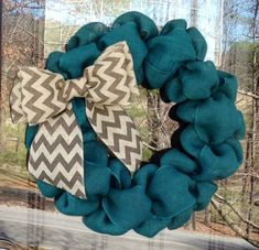 Turquoise and Chevron Burlap Wreath 22 inch by SimplyBlessedGift