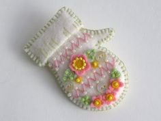 Beautiful White Beaded Felt Mitten