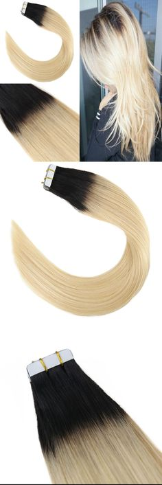 Youngsee Ombre Tape Hair Extensions Natural Black to Blonde Human hair 20pcs/pack Skin Weft Tape in Real Hair Extensions 50gram