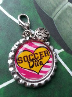 Soccer Diva Girl Soccer Bottle Cap Keychain OR by tracikennedy, $6.00