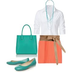 """Pops of Teal"" by karrina-renee-krueger on Polyvore. Love the color!"