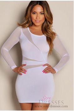"""Cherise"" White See Through Mesh Long Sleeve Mini Dress image Mini Dress With Sleeves, Long Sleeve Mini Dress, White Long Sleeve, Vegas Dresses, Sexy Dresses, Cute Dresses, Sexy White Dress, White Mini Dress, Long Sleeve Club Dresses"