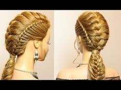 Hairstyles for long hair. Combo braids for party, everyday. - YouTube