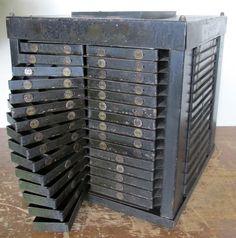 Vintage Industrial 85 Drawer Rotating Drill Index Organizer,Cool Storage Cabinet
