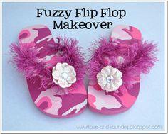 fuzzy flip flop makeover