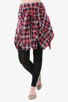 Plaid Vintage Skirt In Red With Black Trousers. Free 3-7 days expedited shipping to U.S. Free first class word wide shipping. Customer service: help@moooh.net