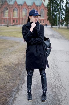 Fashion Tipsy: Sporty goes faux-leather. All black OOTD http://fashiontipsy.blogspot.fi/2014/03/all-black-everything-outfit-14032014.html
