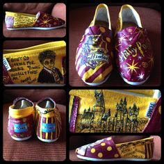 Harry Potter #TOMS by Painted Dreams by Denise! (Check out her Etsy store http://www.etsy.com/shop/PaintedDreamsbyDS.) I love them so much! Now I'm ready for #LeakyCon.