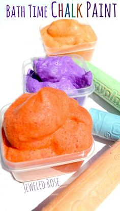 Bath Time Chalk Paint Recipe- vibrant colors, a fun texture, and 100% washable paint perfect for bath time art from Growing a Jewel Rose. For more sensory related pins, visit the SPD Blogger Network boards here: @SPDBN