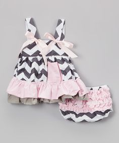 Look what I found on #zulily! Gray Zigzag & Pink Swing Top & Diaper Cover - Infant #zulilyfinds